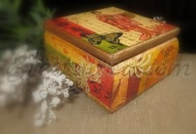 "Small wooden jewellery box ""The geisha"""