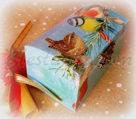 "Small wooden jewellery box ""Birds"""