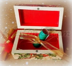"Small wooden jewellery box ""Mistletoe"""