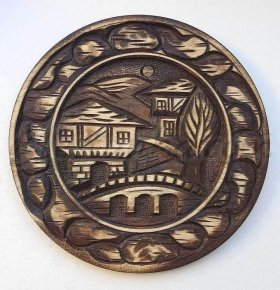 "Carved wood plate ""The Old Town"""