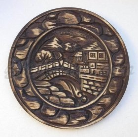 "Carved wood plate ""The Bridge"" - wood carving"