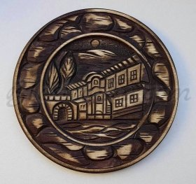 "Carved wood plate ""The Mansion"" - wood carving"