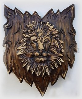 "Decorative wood canvas ""Lion"""