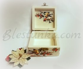"Small wooden jewellery box ""Snowy"""