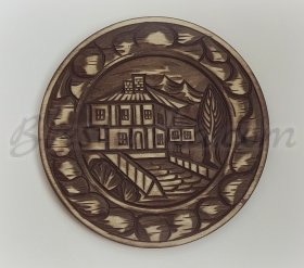 "Carved wood plate ""The Manor House"""