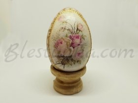 "Decorative wooden egg ""Pink roses"""