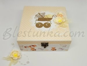 "Baby`s Treasures Box ""Sweet baby"" in ecru colour"