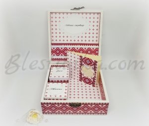 "Baby`s Treasures Box ""Sweet baby"" in red colour"