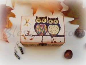 "Small wooden jewellery box ""Mr and Mrs Owl"""