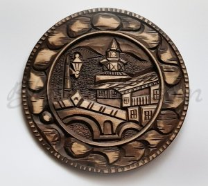 "Carved wood plate ""Clock tower """