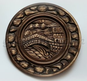 "Carved wood plate ""By The River"""