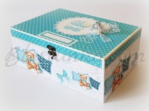 "Baby`s Treasures Box ""Sweet baby and bears"" in blue - big"