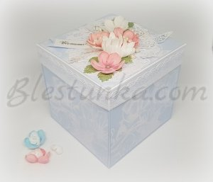 "Surprise exploding box ""Wedding"" in blue"