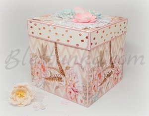 "Surprise exploding box ""Wedding"" in peach color"