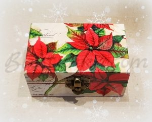 "Small wooden jewellery box ""Poinsettias"""